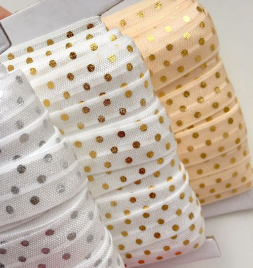 Резинка для повязок на голову в горох (бейка-стрейч) 1,5 см (1м)