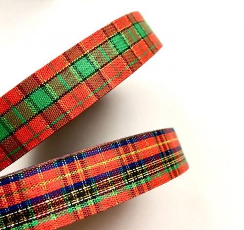 Лента шотландка Новогодняя 1,8 см (1м)