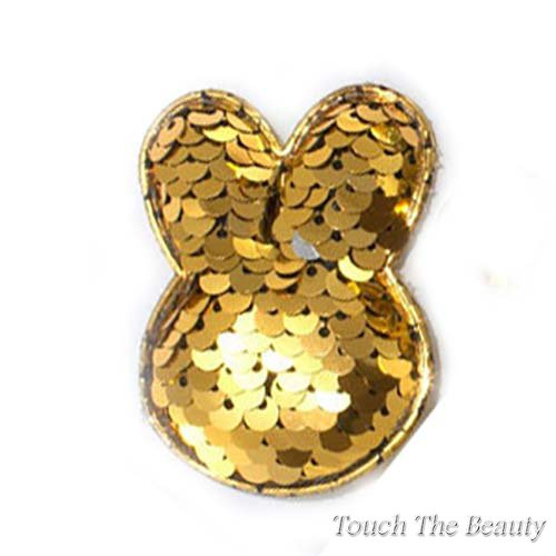 Патч Зайчик двухцветные паеки (золото+серебро) 5,5*4,5см (1шт)
