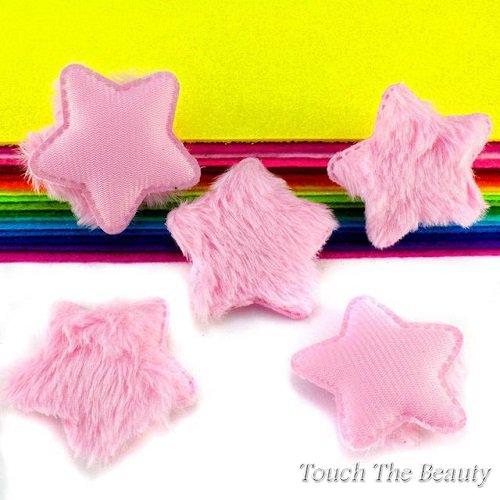 Патч Звезда пушистая розовая 5*4,8см (1шт)