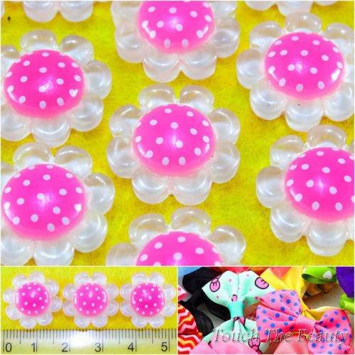 Серединка пластик Цветочек прозрачный розовый 18мм (5шт)