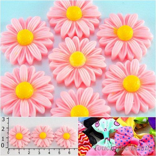 Серединка пластик Ромашки розовые 22мм (5шт)