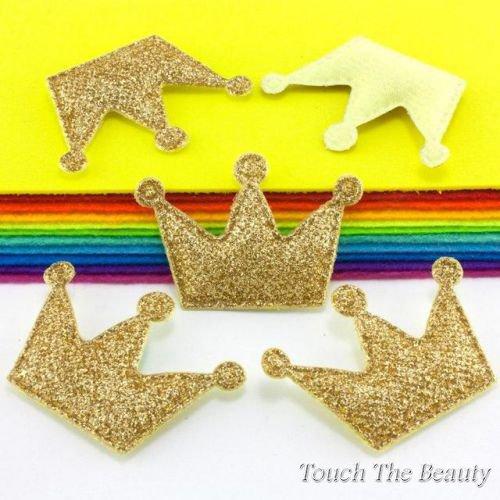 Патч Корона в блестках Золото 3,7*5,5см (1шт)