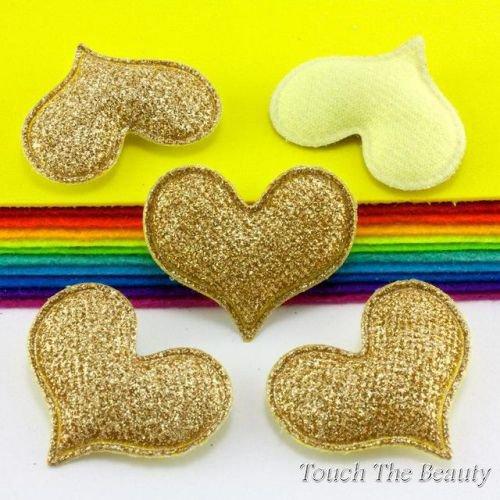Патч Сердце в блестках Золото 4,7*4,5см (1шт)