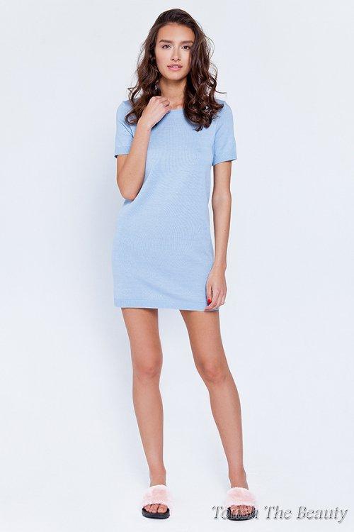 Платье трикотажное Голубой (S)