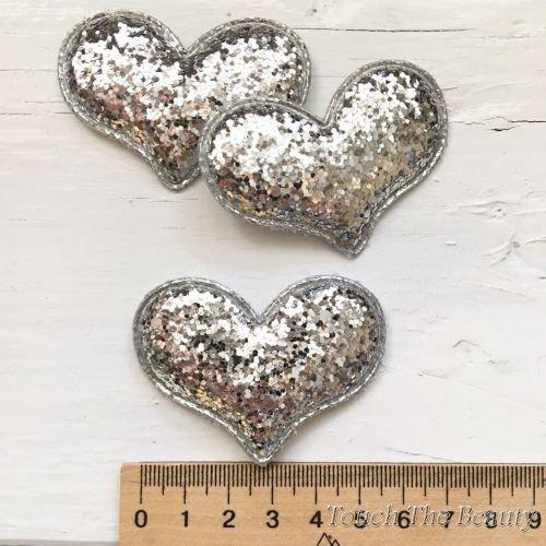 Патч Сердце Серебро 6см (1шт)