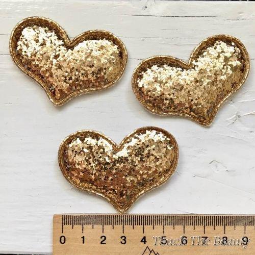 Патч Сердце Золотой 6см (1шт)