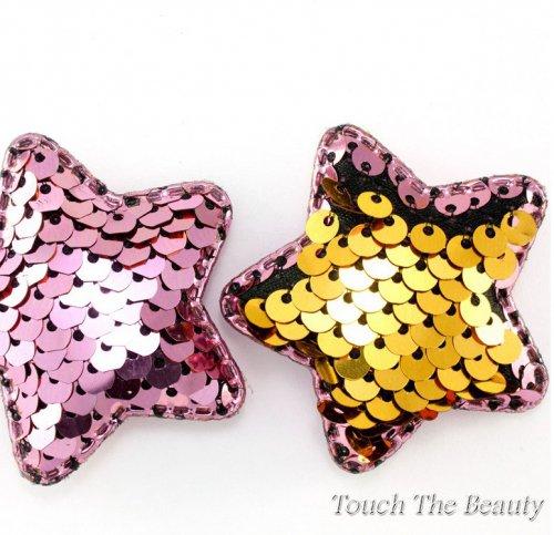 Патч Звезда двухцветные паеки (розовый+золотой) 5см (1шт)