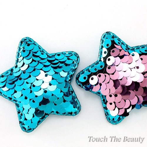 Патч Звезда двухцветные паеки (голубой+розовый) 5см (1шт)