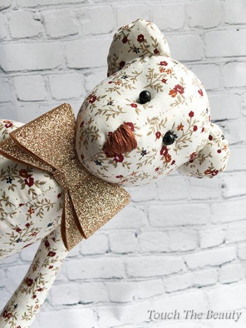 """Медвежонок """"Дэйв"""" (молочный в цветок)"""