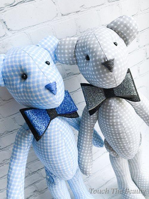 """Медвежонок """"Джон"""" (бело-голубая клеточка)"""