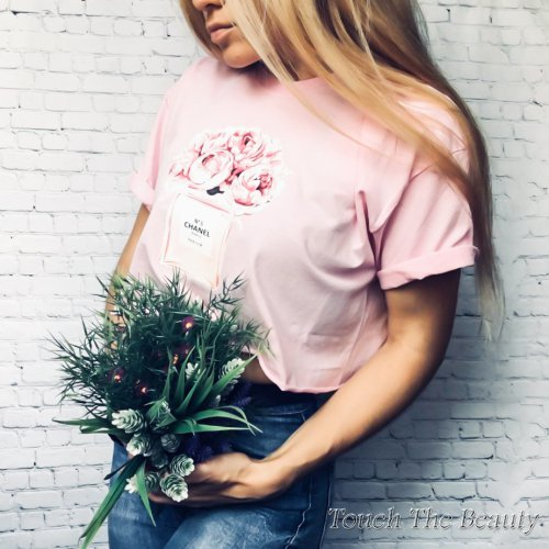 """Футболка нежный розовый """"Flowers"""" (oversize)"""