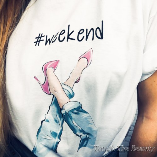 "Футболка белая ""Weekend"" (S-L)"