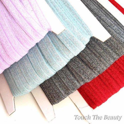 Блестящая резинка для повязок на голову (бейка стрейч) 1,5см (1м)