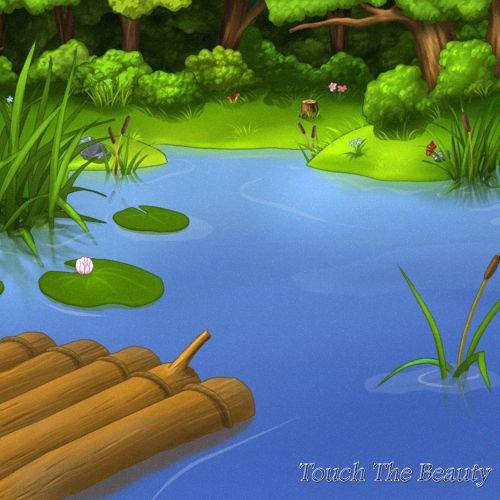 фон для развивающей книжки Плот на пруду
