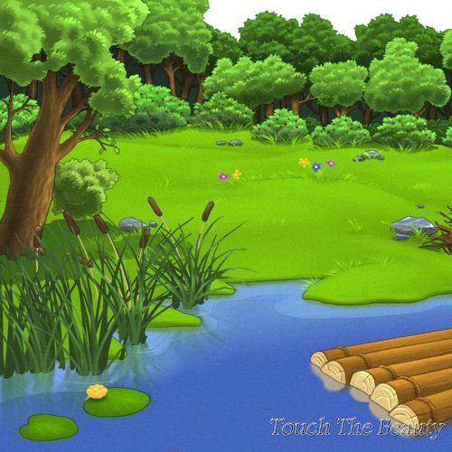 фон для развивающей книжки Озеро и камыши