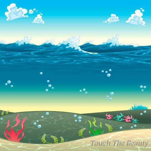фон для развивающей книжки Волны и подводный мир