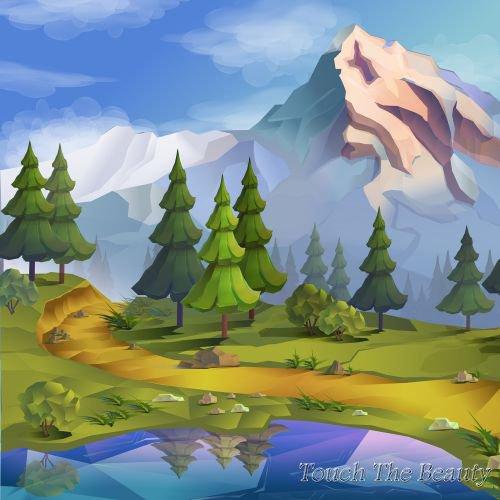 фон для развивающей книжки Горы и озеро