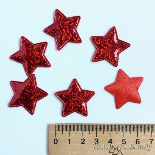 Патч Звезда Красный Прозрачная 30*25мм (5шт)
