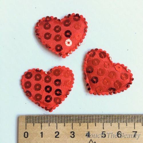 Патч Сердце с паетками 35*30мм (1шт)