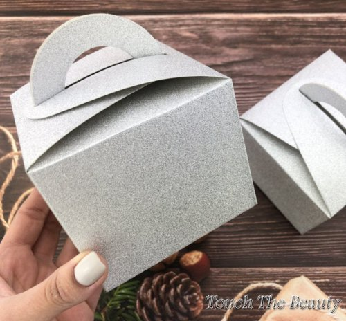 Складная коробка глиттер серебро 9.5*9.5*8 см