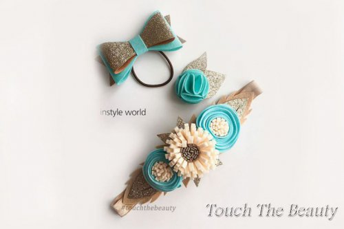 Комплект украшений для девочки (повязка, брошь, резинка)