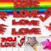 Заготовка из фетра Love с блестками красная 2*0,7см (5шт)