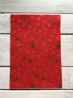 купить фетр новогодний с глиттером оптом листовой блестящий украина