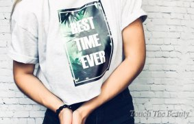 "Футболка серый меланж ""Best Time Ever"" (oversize)"