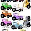 №366 Синий трактор разноцветный