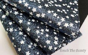 Кожзам крупная звезда 20*30 см (Белые на синем)