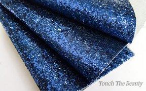 Кожзам крупные блестки 20*30 см (синий)