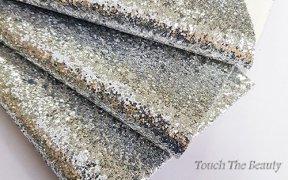 Кожзам крупные блестки 20*30 см (серебро)