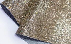 Кожзам мелкая звезда 20*30 см (бронзовый)