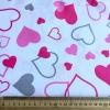 """Ткань польская """"Love розовые малиновые серые сердечки"""""""